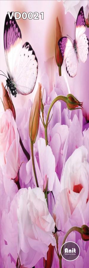 گل صورتی و پروانه رادیاتور شیشه ای