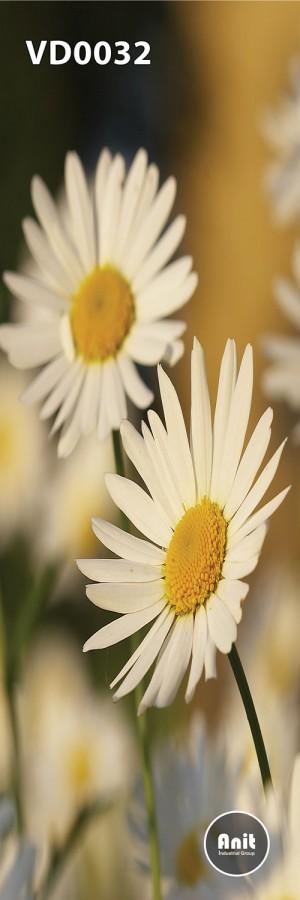 طرح گل سفید رادیاتور شیشه ای